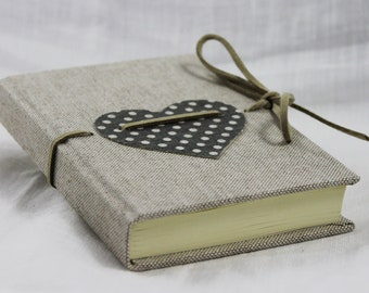 Notebook with blue grey heart polka dots in fabric 9.5 x 13.5 cm