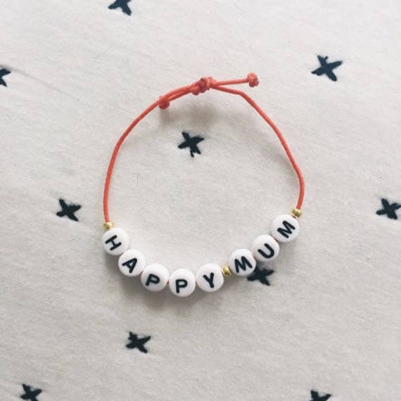 Customizable Barcelet - letter beads - elastic - soft Cactus - La Rochelle