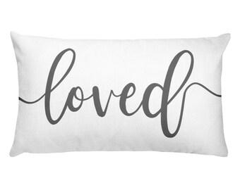 loved, lumbar pillow, calligraphy , welcome pillow, throw pillow, Rectangular Pillow