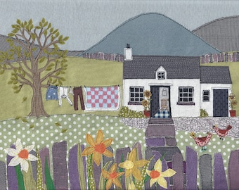 Fabric art work print of 'Washing Day'. Textile picture of Welsh cottage with mountain background, chickens, slate fence and daffodils.
