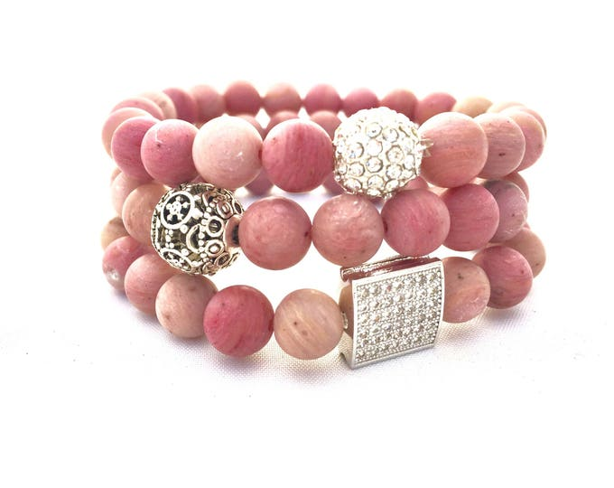 Rhodochrosite Beaded Bracelet-  Pink Gemstone Bracelet- Heart Centered Stone- Stack Bracelet- Gift  for Her- Teacher Holiday Gift