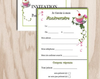 Card birthday invitation with digital print - reply coupon cherry cupcake