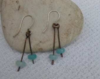 Aquamarine and Copper Hammered Drop Earrings with Silver Ear Wires
