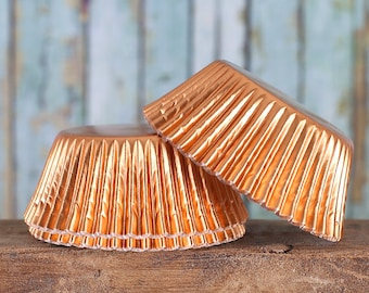 Copper Foil Cupcake Liners, Light Orange Cupcake Liners, Foil Baking Cups, Copper Foil Muffin Cups, Metallic Cupcake Liners (50)