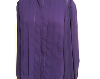 Nicola Purple Blouse, Pleated Front