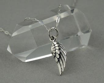 Wing Necklace - Sterling Silver Tiny Charm Necklace, Wing Charm, Girls Jewelry, Girls Necklace, Tiny Charms, Charm Bracelet Charms