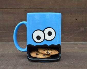 Googly Eyed Monster Dunk Mug - Ceramic Cookie and Milk Mug - Made to Order