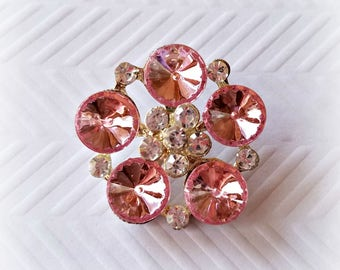 Large Pink Rhinestone Buttons. 30 mm.