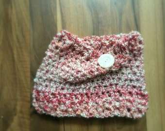 RTS in a Toddler Size Cozy Cowl Crocheted Raspberry Burst Photo Prop Scarf Shawl