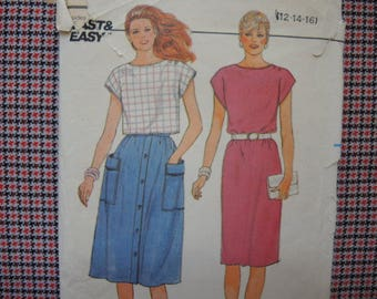 vintage 1980s Butterick sewing pattern Fast & Easy  6549 misses dress top and skirt size 12-14-16 UNCUT