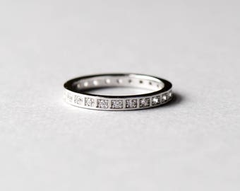 14k White Gold Plated Eternity Band, Wedding Band, 925 Sterling Silver, Stacking Ring, Promise Ring, Band, Rose and Choc