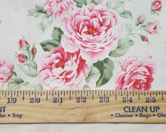 Pink roses on off white Cotton WOVEN fabric