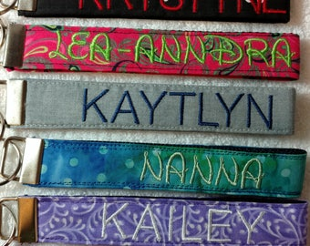 MADE TO ORDER. Personalized key fob. Custom Embroidered Key Fob. You choose color. See details.