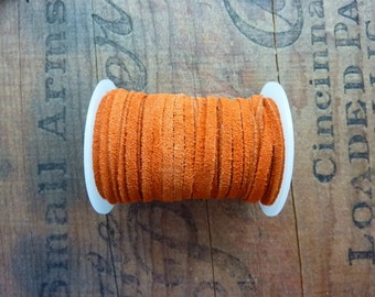 Suede Leather Cord 3mm Wide Orange Suede Cording Leather Cord Bulk Spool Leather Cord (1 Spool) Orange