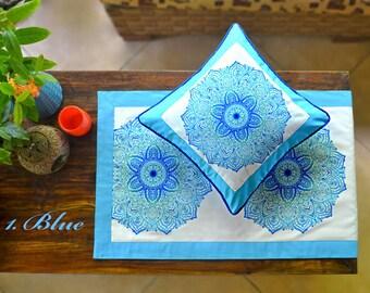 Frame Mandala Motif in Blue and Pink Decorative Pillow, Accent Pillow, Pillow Cover, Throw Pillow, Boho Pillow, Bali Cushion, Cushion, Gift
