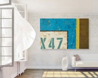 Large Original Abstract Wall Art - Modern Blue and Yellow Acrylic Industrial Painting on Canvas