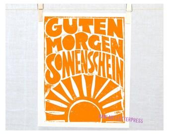 Guten Morgen Sonnenschein, German, Good Morning Sunshine, Baby Nursery Decor, Good Morning, Wall Art, Wall Decor, Kitchen Art, Kitchen Print