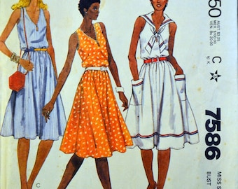 Vintage 1980's Sewing Pattern  McCall's 7586 Misses' Sun Dress Bust 32 Inches Complete