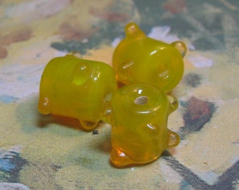 Opaque Lampworked Glass Beads Bright Lemon Yellow