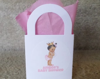 12 Personalized Pink with Pearls African American Princess Mini-Treat-Gift Bags for mini gifts/treats, table decoration, etc.