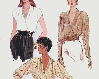 ON SALE Vintage 1970s Women's High Fashion Wrap Blouse, Sexy Deep V neckline Secretary blouse 70s Sewing Pattern Vogue 8607 Size 18 Bust 40