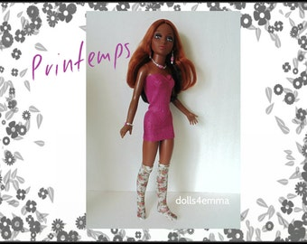 Tiffany Taylor Doll Clothes - Printemps - Sexy Dress, Floral Stockings and Jewelry - Handmade Fashion - by dolls4emma