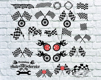 Racing Flags svg - Racing Wheel vector - Racing Flags digital clipart for Print, Design or more, files download svg, dxf, png, eps.