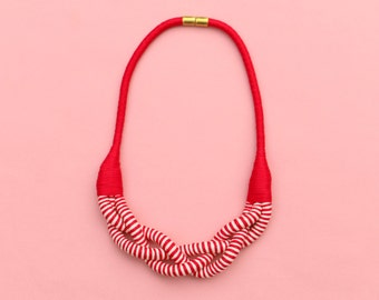 Red and White Textile Braided Statement Necklace For Women, Fabric Rope Necklace, Unique Gift For Wife, Statement Jewelry For Her
