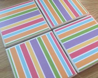 Beach Modern Chic Striped Coasters - Set of 4