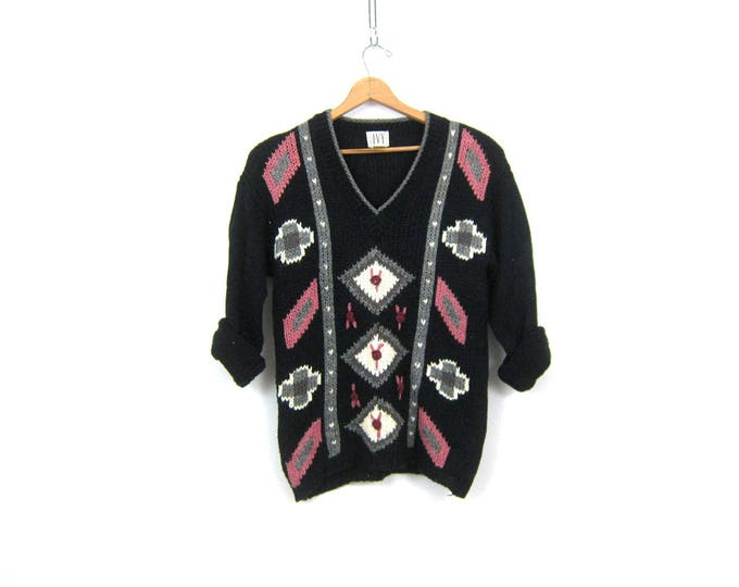 Long Black Sweater Floral Popcorn Knit Vintage Loose Knit Sweater 1980s Retro Prep Sweater Women's Vneck Jumper Size Medium