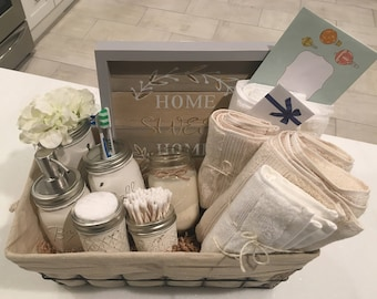 Closing Basket - Housewarming Basket - Wedding Gift - Bathroom Decor - Mason Jar - Farmhouse - Welcome Home - Housewarming Gift