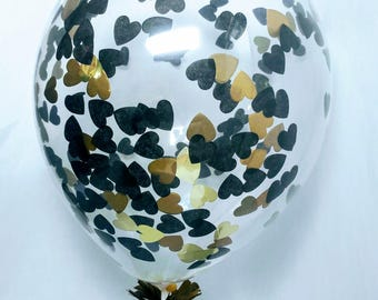 Black Gold Hearts Confetti-Filled Balloons / Tuxedo Party Decor / Biodegradable Latex Balloon / Black Gold Party