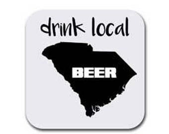 South Carolina Drink Beer From Here Coaster Set - Six (6) Drink Coasters - Absorbent | Furniture Safe Carolina Gifts - Quality Neoprene