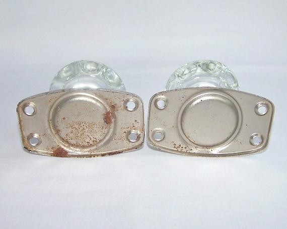 vintage door knobs a pair of metal door pulls with clear