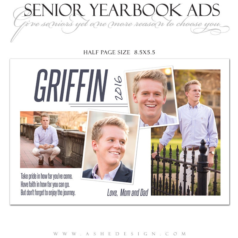 Senior Yearbook Ads Photoshop Templates - The Journey - High School ...