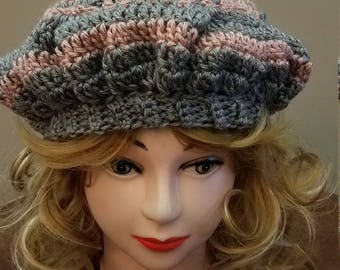 Rose and Grey Slouchy Beret Hat - Ready to be Shipped