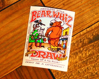 Vintage 90s Bear Whiz Quick Draw Beer Pistolero Style Sticker