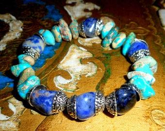 "Bracelet ""Bora Bora"" - Sodalite, Jasper, Turquoise, silver - Al ""Oceania""."