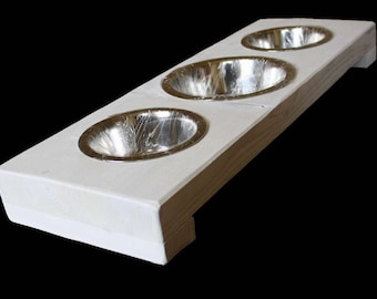Dog bowl, cat Bowl Fressnapf food bowl feeder 3 NAPF stand dog cat food bowl solid wood country house handmade 3 x 0,7 l