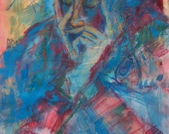 Mixed-media painting, Figure, Colorful Art, Pastel