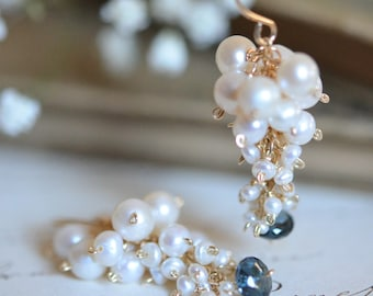Freshwater Pearl with London Blue Topaz Cluster Earrings