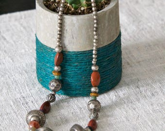 Burnt Orange Tribal Indonesian Necklace