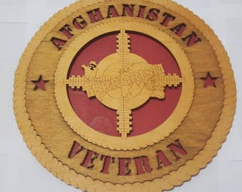 Afghanistan Veteran Wall Plaque Wooden Model