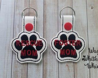 Rescue Mom Foster Mom Vinyl Paw Keyfob Keychain Bag Tag Custom Monogram - Proceeds to animal charity