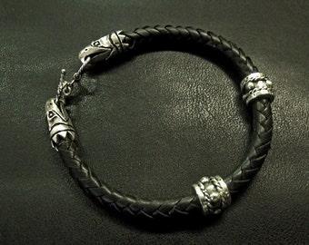 Harbinger of Death Bracelet Leather and Sterling Silver RF584