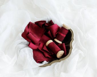 """Red ribbon Hand dyed natural silk ribbon wooden spool 3 m/5 cm (3 yd/ 2"""") Red wedding details Styled photo shoot Ribbon tie headpiece Pin up"""