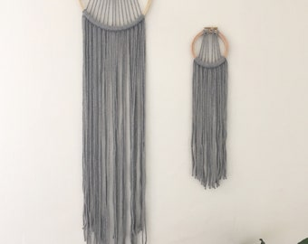 Small or Large Grey Macrame dreamcatcher