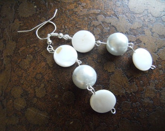 Pearly Innocence Glass Pearl and Mother of Pearl Beaded earrings