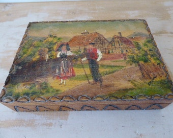 Handpainted Trinket Box, Decorated Cigar Box, Storage Box 0317050-185