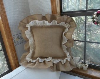 Double Ruffle Burlap Pillow Sham Ruffled Burlap Pillows Custom Sizes French Country Porch Pillows Cottage Style Decor